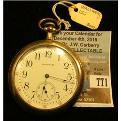 """American Waltham Watch Co."", Waltham, Mass. Open-face Pocket Watch. 15 jewels. Gold-filled watch ca"