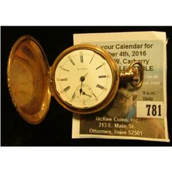 Trenton Watch Co. Ladies close faced Pocket Watch, 20 Year Dueber case with ornate engraving. Hands