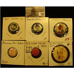 (6) Different Pin-backs: Yellow Kids; Charlie Mc Carthy; Goat Pin; Airmen Air Cadets; R & B work for