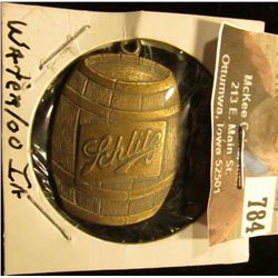 """Schlitz"" Beer Keg Brass Key Chain fob ""Standard Dist. Co. 403 Chestnut St. Waterloo, Iowa 50703."