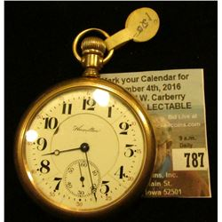 """Hamilton Watch Co."" Open-faced Pocket Watch, 17 jewels, running condition."