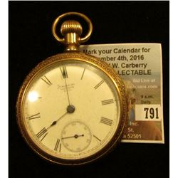 American Waltham Watch Co. Open-faced Pocket Watch, Patd Nov. 19, 1889, Very unusual movement. Not r