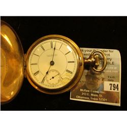 """G.W. Bollinger Oskaloosa, Iowa"" Hunting Case Pocket Watch, dial has been repaired, lever set, Rockf"