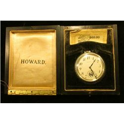 Howard Watch Co. Boston, U.S.A. Open Face Pocket Watch with original box and certificates, 17 Jewels