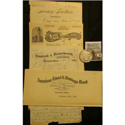 "11-2 1897 ""The First National Bank of Chariton, Iowa Draft…$38.72…""; December 12th, 1929 ""American T"