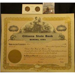 "Unissued Stock Certificate ""Citizens State Bank Monona, Iowa"", Center vignette of Justice with bare"