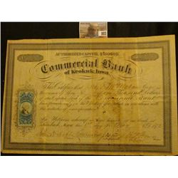 "May 1st, 1872 One Share worth $1,000 ""Commercial Bank of Keokuk, Iowa"" 25c Green George Washington U"