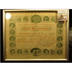 "8"" x 10"" Framed ""Cradle Roll Certificate This is to Certify that (Charles Francis Griffin) born on t"