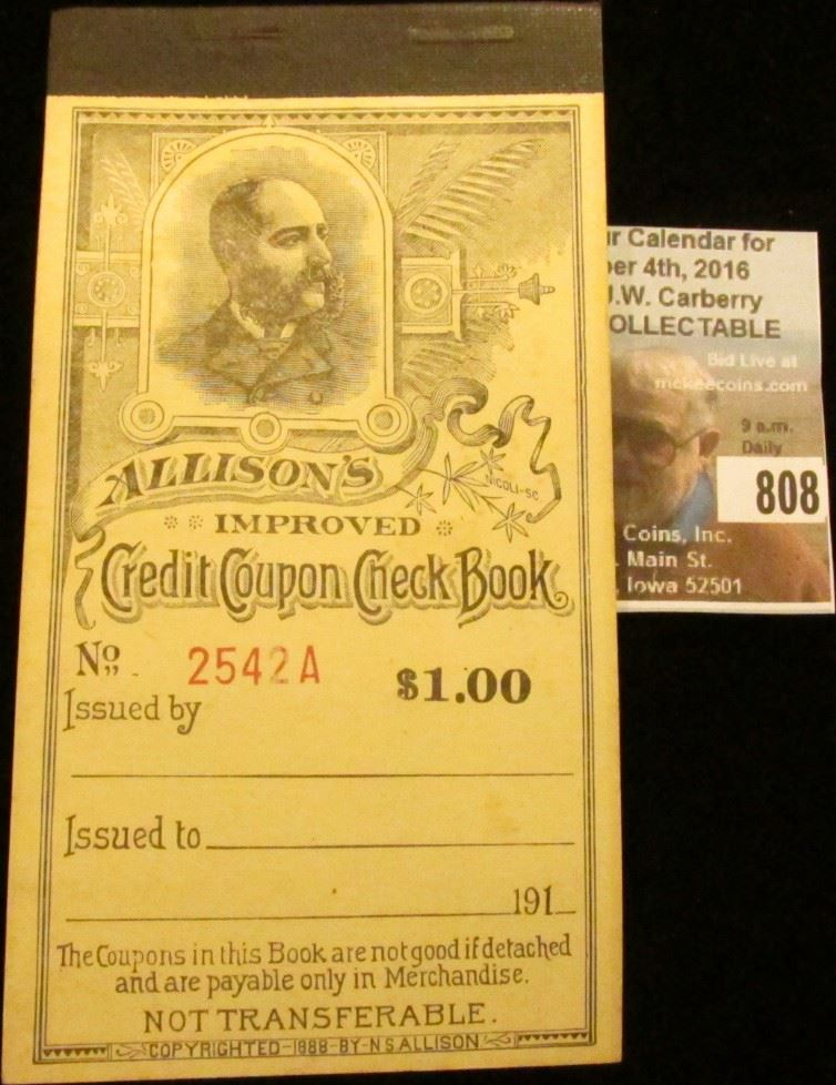 Allison S Improved Credit Coupon Check Book 1 00 Allison Coupon