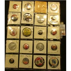 20-Pocket Plastic Page full of Political Tokens and Pin-backs. Includes Dewey-Warren, L.B.J., Willki
