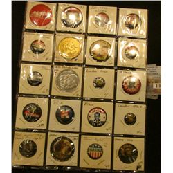 20-Pocket Plastic Page full of Political Tokens and Pin-backs. Includes Anderson, Nixon, Ike, F.D.R.