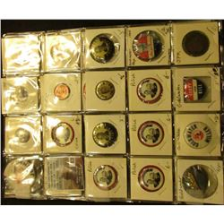 (2) 20-Pocket Plastic Pages with (34) Political Tokens and Pin-backs. Includes Goldwater, J.F.K., L.