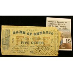 "Nov. 15th, 1862 ""Bank of Ontario Pay to the Bearer Five Cents, in current funds…Canandaigua, N.Y."" E"