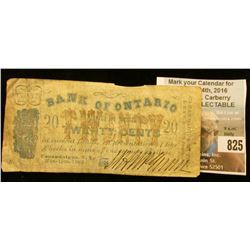 "Nov. 15th, 1862 ""Bank of Ontario Pay to the Bearer Twenty Cents, in current funds…Canandaigua, N.Y."""