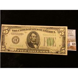 """Series of 1934 $5 Federal Reserve Note. """"H"""" St. Louis, Mo. AU 50."""