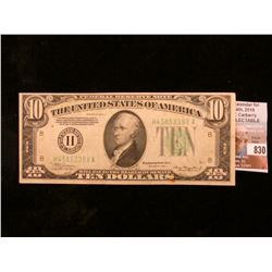 "Series of 1934 A $10 Federal Reserve Note. ""H"" St. Louis, Mo. AU 50."