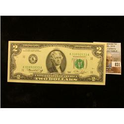 "Series of 1976  $2 Federal Reserve Note ""K"" Dallas, Texas. CU."