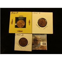 1941 P, D, & S Lincoln Cents, all Brilliant Uncirculated.