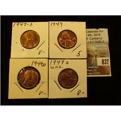 1947 S, 1949 P, D, & S Lincoln Cents, all Brilliant Uncirculated.