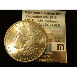 1888 P U.S. Morgan Silver Dollar, Superb Gem BU.