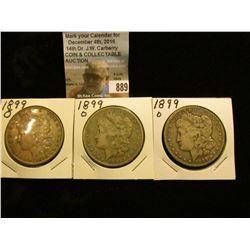 (3) 1899 O U.S. Morgan Silver Dollars, VG-VF.