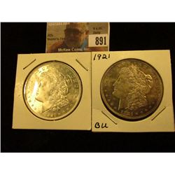 (2) 1921 P  U.S. Morgan Silver Dollars, Brilliant Uncirculated.