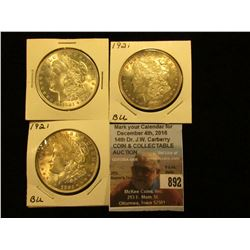 (3) 1921 P  U.S. Morgan Silver Dollars, Brilliant Uncirculated.