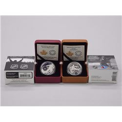 Lot of 2 Fine Silver .9999 NHL Coins. Toronto Maple Leafs and Johnny Bower. Royal Canadian Mint.