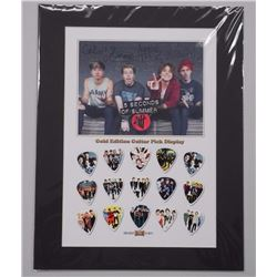 """5 Seconds of Summer - Gold Edition Guitar Pick Display Collection. Approx. 11x14""""."""