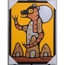 """Christian Morrisseau (1969-) """"Peace in the Land"""", 2016. Signed in Cree Syllabics. Acrylic On Canvas."""