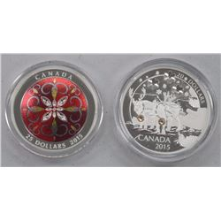 Lot of 2 .9999 Fine Silver Holiday Coins from the Royal Canadian Mint. Holiday Reindeer and Christma