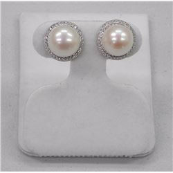 Pair of .925 Silver Custom Earrings with (2) 9.50mm Pearls and 110 CZs. SRRV: $375.00.