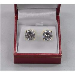 Ladies .925 Silver With Yellow Gold Overlay, Swarovski Element Stud Earrings - 15.08ct. SRRV: $230.0