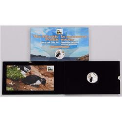 2014 - $20.00 .9999 Fine Silver 'The Atlantic Puffin' Coin and Stamp Folio. LE with C.O.A.
