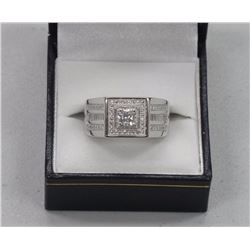 Gents .925 Silver Ring, 1.00ct Swarovski Elements Solitaire and 56 Bead Set Round Cut CZs 0.56ct. Si