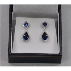 Ladies 4-Pear Shape and Round Sapphire Blue Swarovski Elements, Two-Tier Earrings. SRRV: $325.00.