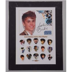 Justin Bieber - Gold Edition Guitar Pick Display. 15 Picks. Limited Edition /50. Approx. 11x14. Unfr