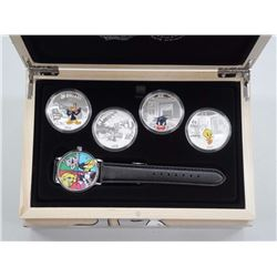 Royal Canadian Mint .9999 Fine Silver 'Looney Tunes' 4 Coin Set with Collector Watch.