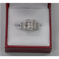 Ladies Custom Designed Belt Buckle Ring, Set in Sterling Silver, w/ 89 AA Grade Micro Pave Set CZs.