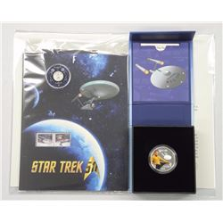 1st Issue Royal Canadian Mint Star Trek Collection. 2016 $10 Fine Silver Coin and Stamp and Coin Set