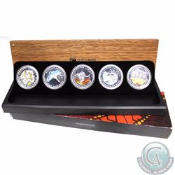 AUSTRALIA; 2009 Discover Australia Coloured 5-coin Animal Silver Dollar Proof Set (Tax Exempt). The
