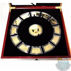 Chinese Lunar Calendar 24k Gold-plated Copper Medallion set. This set Features a large round Medalli