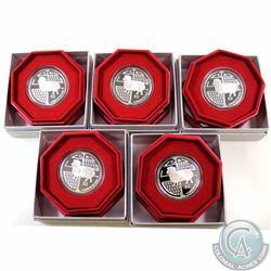 SINGAPORE; 5 x 2015 $2 .9999 Fine Silver Proof Year of the Sheep Coin. The weight of this item is 20