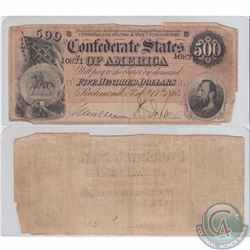 UNITED STATES; Pick #73 1864 Confederate States of America $500  Very Fine. The note has a few holes