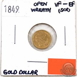 UNITED STATES; Gold 1849 $1, Open Wreath, VF-EF, small scratch on the neck.