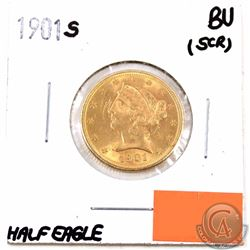 UNITED STATES; Gold 1901S $5 Half Eagle Brilliant Uncirculated (scratches on obverse)