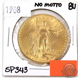 UNITED STATES; Gold 1908 $20 Double Eagle, No Motto Brilliant Uncirculated. A Bright Flashy Coin.
