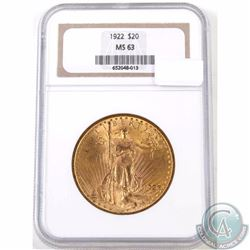 UNITED STATES; Gold 1922 $20 Double Eagle, NGC Certified MS-63. This coin exhibits soft frosted fiel