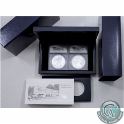 UNITED STATES; 2013 2-Coin Silver American Eagle $1 West Point Set both coins are a First Strike ANA