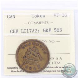 Token, Brass (1828) Francis Mullins & Sons Montreal Importers of Ship Chandlery & C. Commerce Token